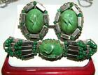 Vintage Miriam Haskell Green Art Glass Brooch and Earring Set 1950s Estate