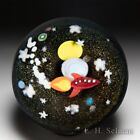 Mayauel Ward 2021 spaceship and planets compound glass paperweight