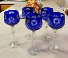 Bohemian Carved Glass cobalt Water Glasses Set of five 85 tall MINT