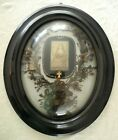 Large Antique French Mourning Hair piece Art Memento Convex Glass Framed relic