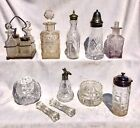 COLLECTION OF ANTIQUE GLASS CONDIMENT SHAKERS SCENT BOTTLES KNIFE RESTS ETC