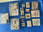 MIXED LOT 46 RUBBER STAMPS BLOCKS LARGE  SMALL CRAFT SCRAP BOOK WORDS  DESIGN