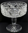 AMERICAN BRILLIANT CUT GLASS ABP FOOTED BOWL COMPOTE VERY FINE DEEP CUTS