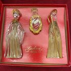 GORHAM CRYSTAL with Gold Trim Nativity 3 Piece Set Made in GERMANY