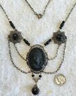 Vintage dramatic French jet black glass cameo necklace 18 1 2 inches long