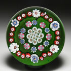 Antique Clichy open concentric millefiori on transparent ground paperweight
