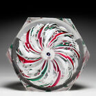 Antique New England Glass Company red white and green crown faceted paperweight