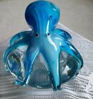 Art Glass Paperweight with Whimsical Sky Blue Octopus on Top smooth pontil