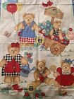 Vintage 80s Fabric Quilt Panel Playful Teddy Bears Flowers So Cute