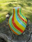 Murano vase with hand blown and multi colored candy striped glass