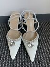 Mach  Mach Double Bow Crystal pearl Embellished Satin Pumps white new