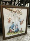 Finished Completed Cross Stitch Amish Dimensions Play Time Framed Beautiful
