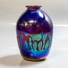 VTG Hank Claycamp Iridescent Pulled Feather Art Glass Vase Mt St Helens AS IS