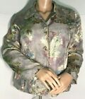 Sz 3 CHICOS GRAY PAISLEY FITTED DRESS JACKET GOLD METALLIC FULLY LINED LS