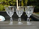 Lot Of Three Vintage Heisey Rose Etched Wine Glasses