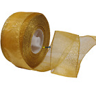 Gold Glitter Wire Edged Ribbon for Christmas Wreath and Wedding Craft
