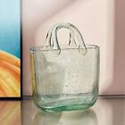 Glass Bag Vase Shopping Basket with Handle Mouth Blown Arranging Flowers Storage