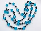 ANTIQUE ART DECO BRIGHT BLUE VERY LONG HEAVY FACETED GLASS BEAD LADIES NECKLACE
