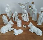 Vintage Nativity Set of 13 Piece Hand Painted Porcelain White and Gold EUC