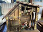Vtg NATIVITY manger wood hay pottery made in ITALY hand painted art
