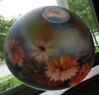 Antique or Vintage Large Reverse Painted Glass Lamp Shade Floral