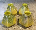 SET OF 4 ANTIQUE ART GLASS PULLED FEATHER GLASS LAMP SHADES QUEZEL