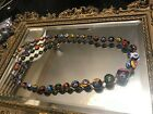 Vintage 24 Millefiori Necklace Graduated Size Beads From 3 4 Beautiful Colors