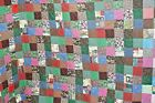 Q39 Contemporary Quilt Hand Quilted Scrap Bag Patchwork 80 X 96 in