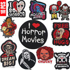 10 Horror Movie Character Cloth Patches Iron On Badges Clothing Sweater Shirts