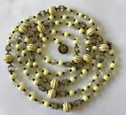 Antique Yellow Glass Beaded Crystal Filagree Opera Length Necklace 595