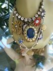 VINTAGE BETSEY JOHNSON MERMAIDS TAIL DOLPHIN CRYSTAL PEARL STATEMENT NECKLACE