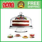 Glass Cake Stand with Dome Lid 6 in 1 Serving Tray