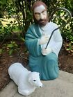 Vintage Blow Mold Shepherd and Lamb Empire Nativity w Cane Lighted Christmas