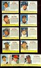 1963 Post Cereal Baseball 11 Card starter set LOT EX Hand Cut from Boxes