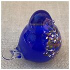 Vtg Hallingglass Blue Bird Of Happiness Paperweight Glass Figurine Norway Signed