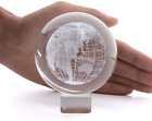3D Crystal Globe Paperweight LONGWIN 31 Inch Laser Engraved Glass Sphere Displ