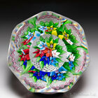 Saint Louis 1977 upright bouquet and torsade faceted glass paperweight