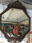 ANTIQUE ENGLISH WOOD FRAMED BEVELED GLASS WALL MIRROR