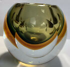 Midcentury Murano Amber Green Sommerso Art Glass Faceted Geode Vase Flavio Poli