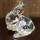 Waterford Clear glass bunny paperweight figurine Ears up Retired Rabbit