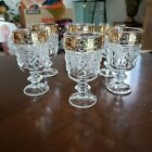 Set of 5 Clear Italian Made Pressed S Glass Cordial Stemware Gold Leaf Trim
