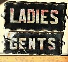 2 Reverse Glass Chip Scalloped Edge Tin Frame Signs Ladies Good Gents As Is