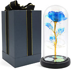 Glass Rose Forever Rose In Glass Dome With Fairy Lights Blue Artificial Eternal