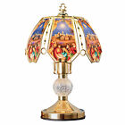 Gold Toned Nativity Scene Glass Panels Touch Base Table Lamp