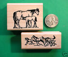 Horse Life Rubber Stamps Two Wood Mounted