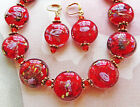 RED GLASS LAMPWORK GOLD PLATED METAL necklace ears 19