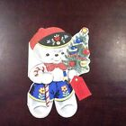 #450- Vintage1949  Whitman Flocked Hat Snowman Holiday Xmas Greeting Card, Sweet