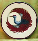 Royal Tsuru by Fitz Floyd SALAD DESSERT PLATE burgundy blue gold bird in center