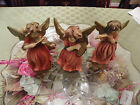 A. Santini Capodimonte Set of 3 Angels Musical, Harp,Violin, Flute