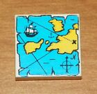 LEGO Pirate - Tile 2 x 2 with Map / Pirate Ship Pattern - White